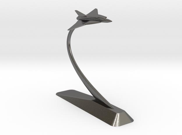 Saab Draken Monument in Polished Nickel Steel