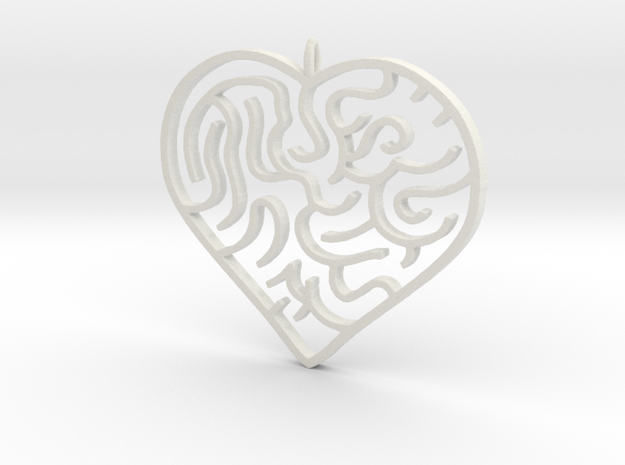 Heart Maze Pendant 3 in White Natural Versatile Plastic