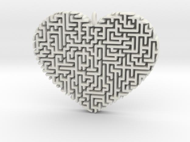Heart Maze-Shaped Pendant 2 in White Natural Versatile Plastic