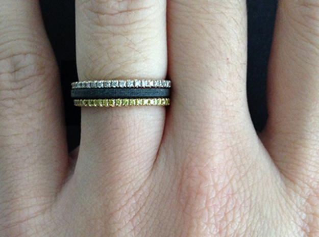 Minimalist Spacer Ring (just under 2mm) Size 5 3d printed Black Detail Plastic and micropave rings