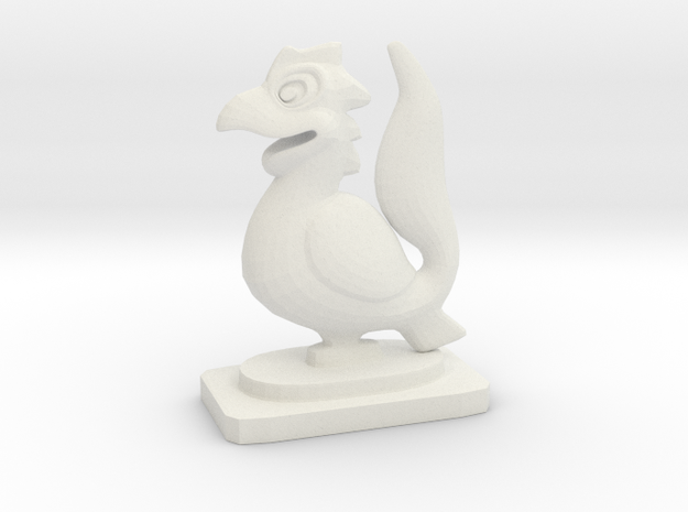 Indian Mini Desktop Statue (Yali) in White Natural Versatile Plastic