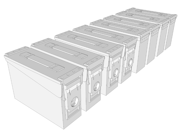 1:6 scale 30 cal ammo can box x8 in White Natural Versatile Plastic