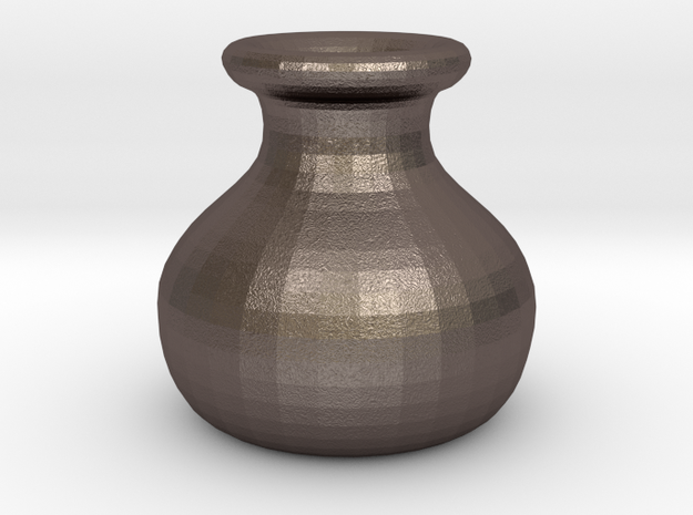 Simple Pot in Polished Bronzed Silver Steel