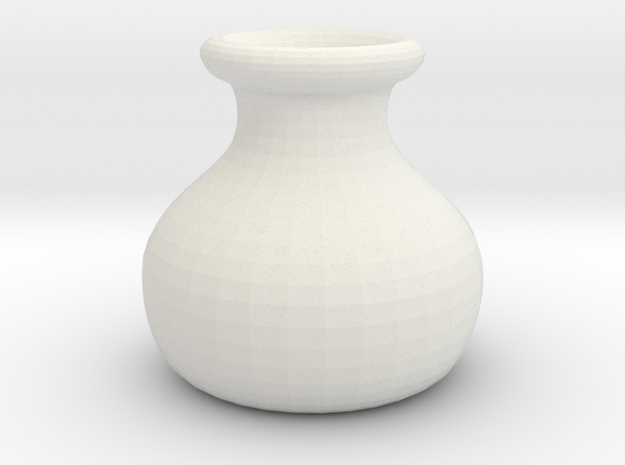 Simple Pot Small version (2 cm) in White Natural Versatile Plastic