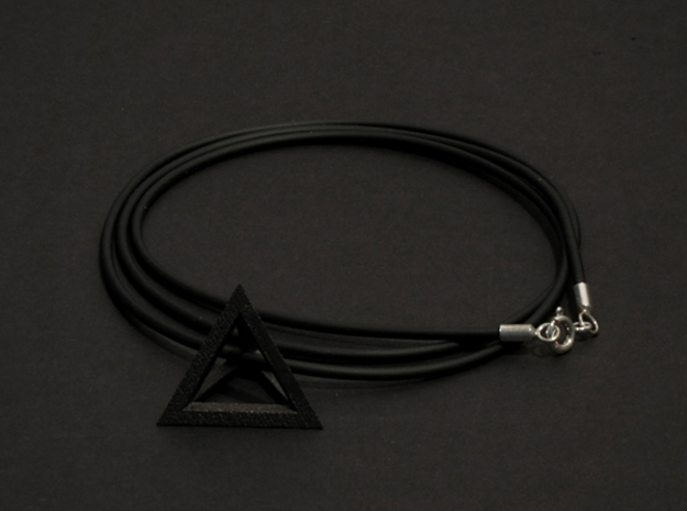 Tetrahedron pendant #Black-Steel #28mm in Matte Black Steel
