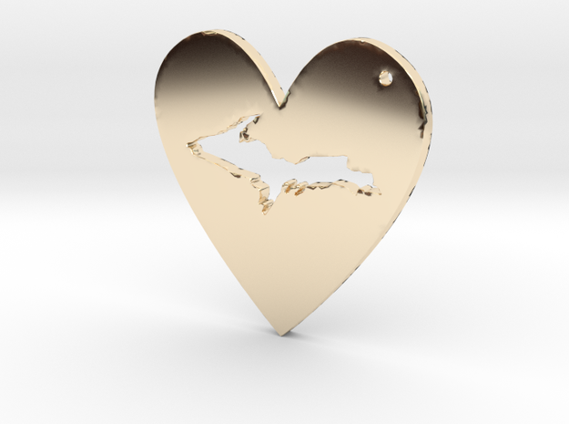 I love UP Pendant in 14k Gold Plated Brass