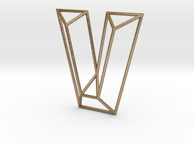 V Typolygon in Polished Gold Steel