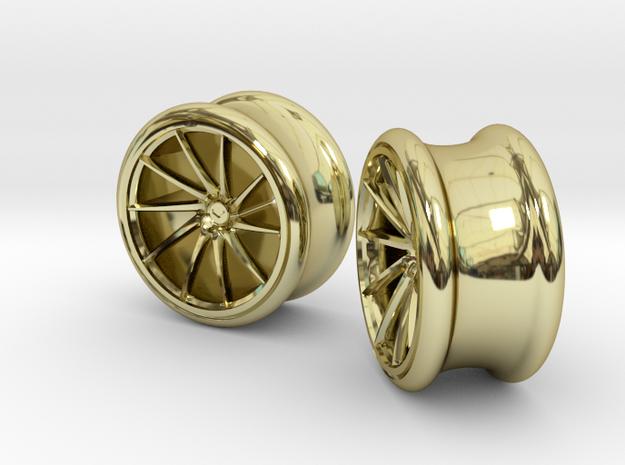 Set of Vossen CVT Gauge EarRings 16mm 5/8' Inner D in 18k Gold Plated Brass