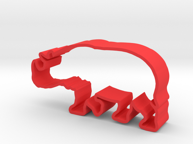 Javan Rhino in Red Processed Versatile Plastic