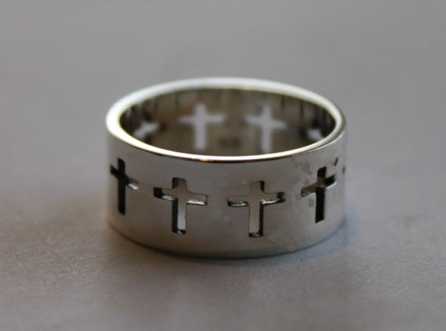 Cross ring V9 Ring Size 7 in Polished Silver