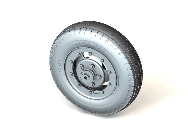 Set of 57mm Gun Carriage TIRE & WHEEL for M1A3 car 3d printed Rendering of 3D model