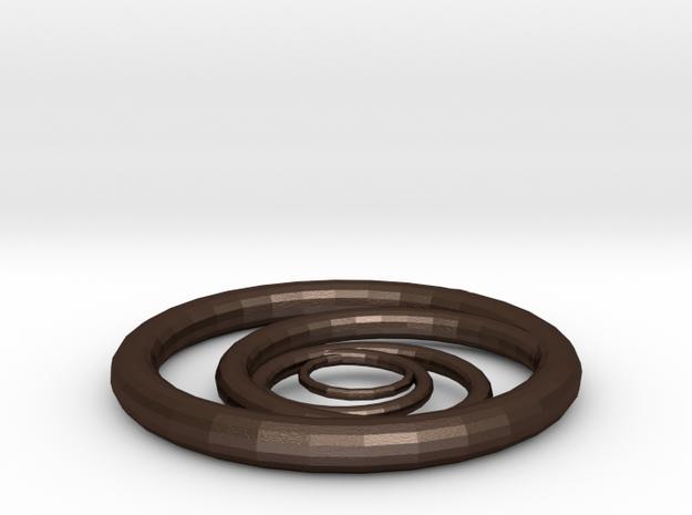 Orbiting Circle Pendant Single Loop in Matte Bronze Steel