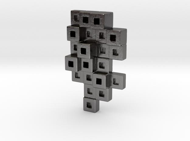 Cubes Tie Pin in Polished Nickel Steel