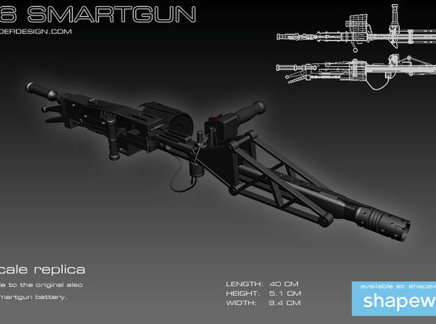 Smartgun 1/3 scale 3d printed Artist's impression the model does not come with the cables pictured.