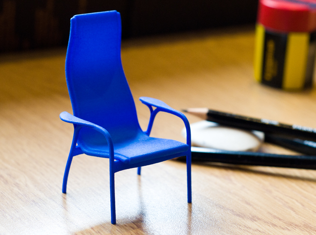 Lamino Style Chair 1/12 Scale in Blue Processed Versatile Plastic