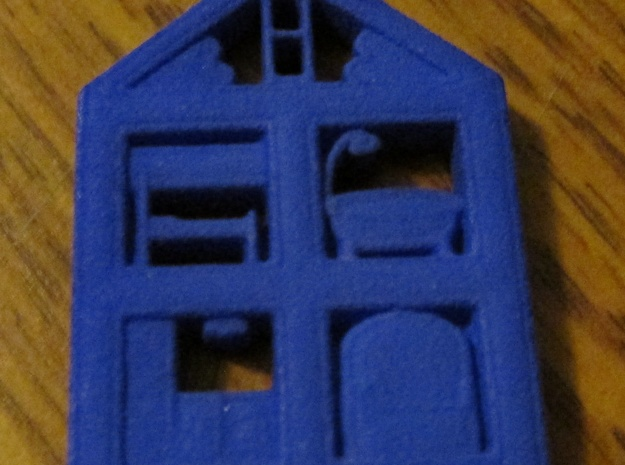 Dollhouse Pendant in Blue Processed Versatile Plastic