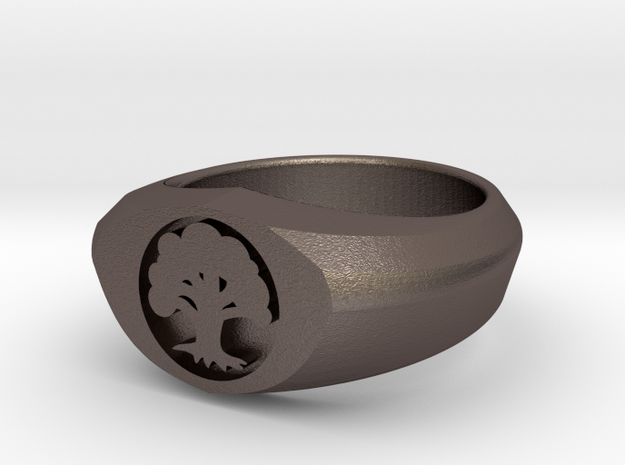 MTG Forest Mana Ring (Size 7) in Polished Bronzed Silver Steel