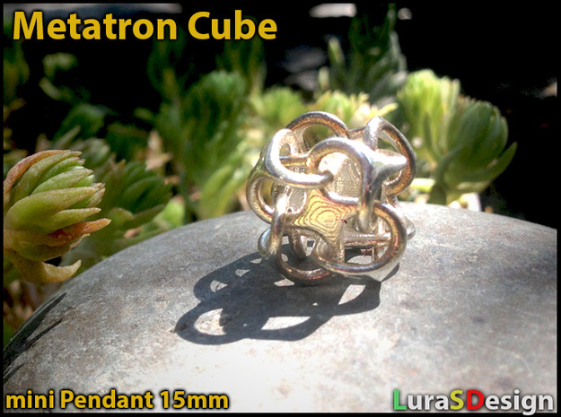 Mini Metatron Cube rounded 3d printed printed in polished Silver