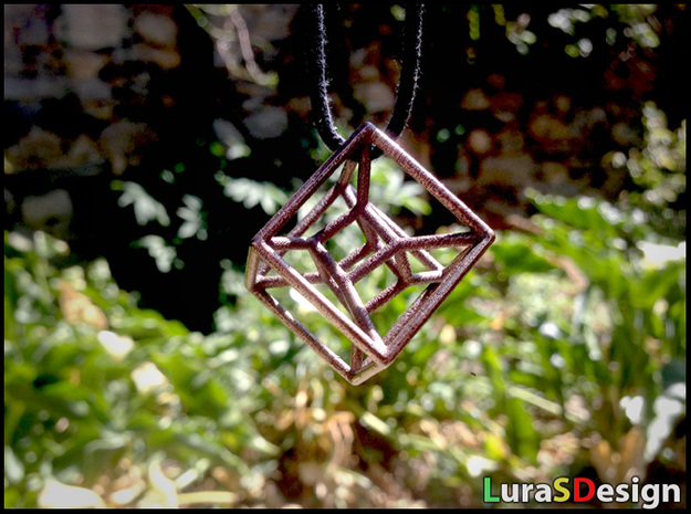twisted Hypercube Pendant 3d printed Bronze Steel print (previous version without the ring)