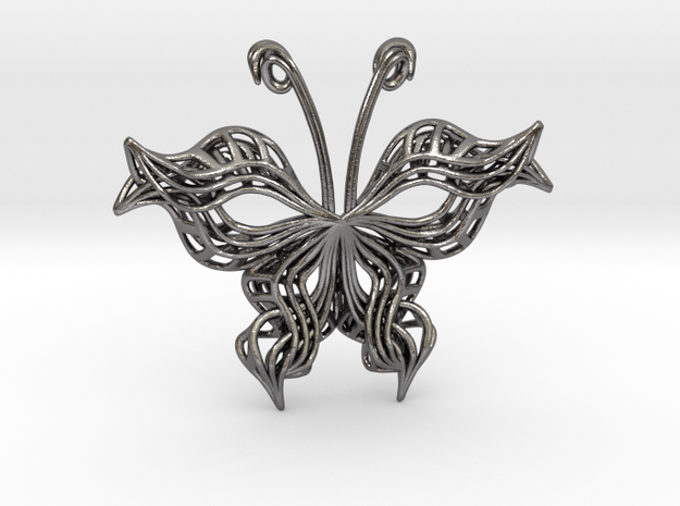 Butterfly Pendant in Polished Nickel Steel