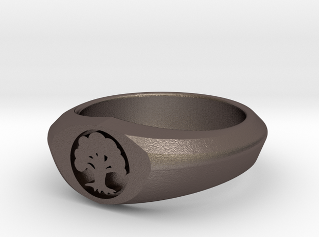 MTG Forest Mana Ring (Size 12) in Polished Bronzed Silver Steel