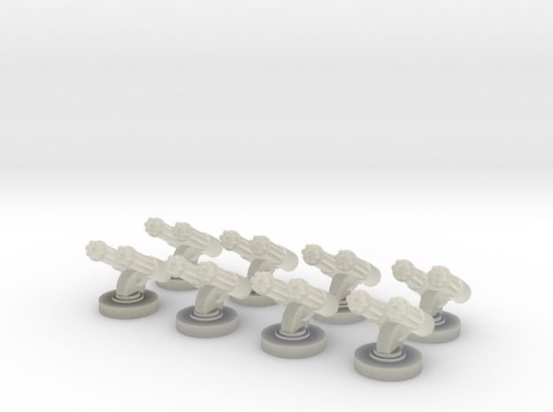 8 Double Gatlings for 6mm, 1/300 or 1/285 in Transparent Acrylic