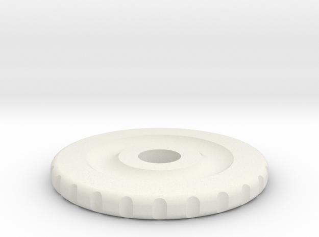 Rotary Encoder Wheel in White Natural Versatile Plastic