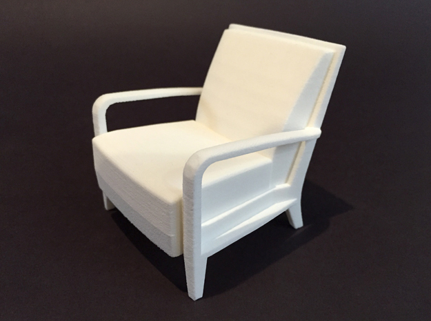 Serengeti Lounge Chair 1:12 scale in White Natural Versatile Plastic