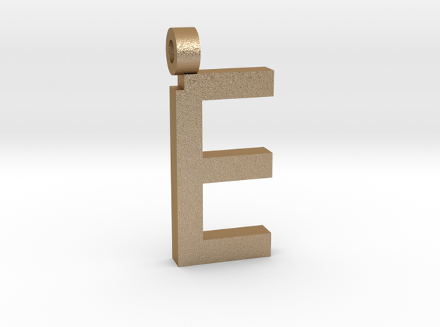 Letter E Necklace in Matte Gold Steel