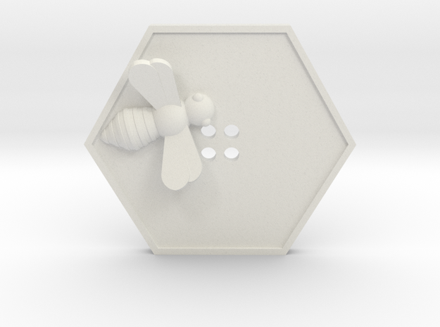 Bee Button in White Natural Versatile Plastic
