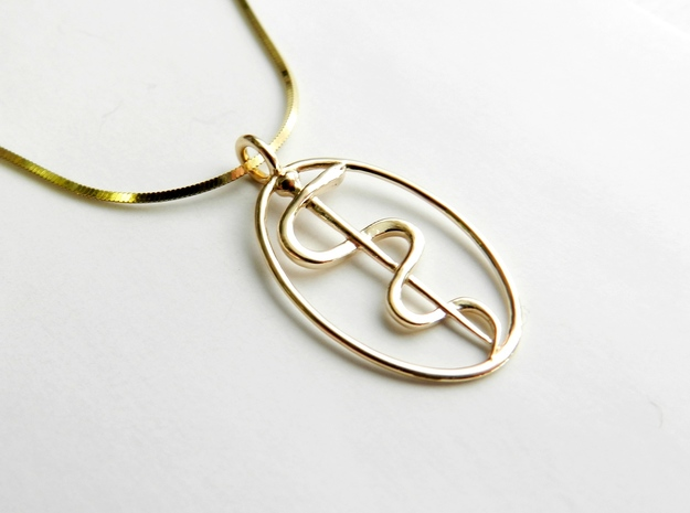 Rod Of Asclepius Pendant - Mini in 14K Yellow Gold