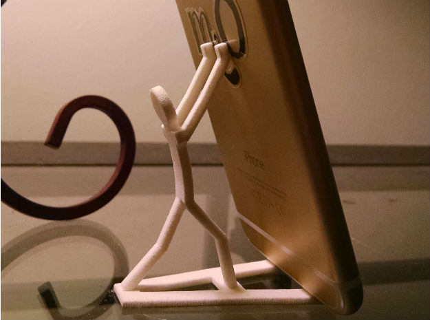 StrongMan iPhone or Smartphone Stand in White Strong & Flexible Polished