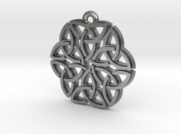 """Triquetra Ornament"" Pendant, Cast Metal in Natural Silver"
