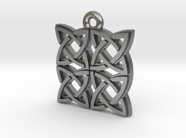 """Gothic Knot"" Pendant, Cast Metal in Raw Silver"