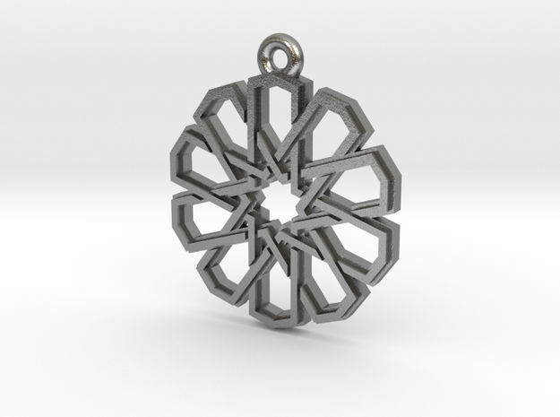"""Ten-Pointed Star"" Pendant, Cast Metal in Raw Silver"