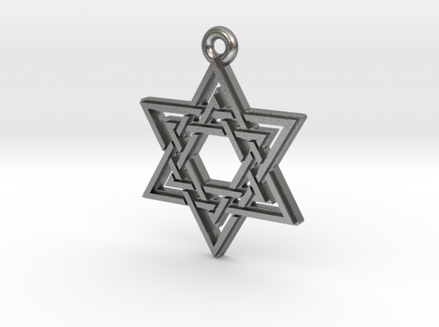 """Double Hexagram"" Pendant, Cast Metal in Natural Silver"