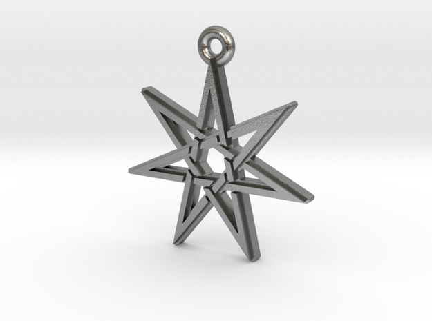 """Heptagram 3.0"" Pendant, Cast Metal in Raw Silver"