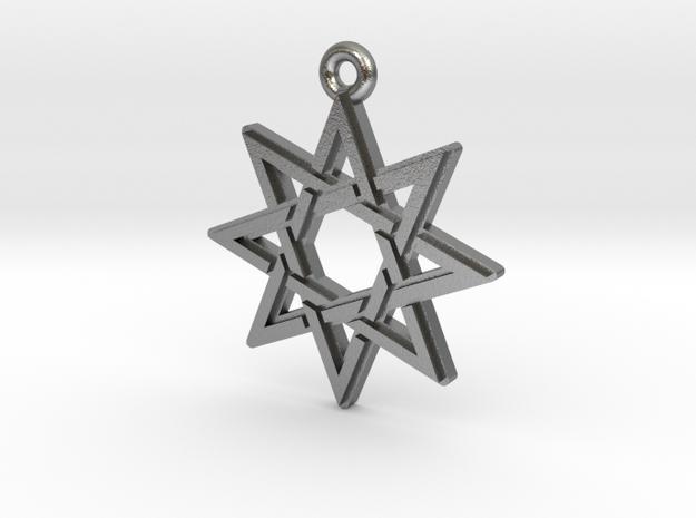 """Octagram 3.0"" Pendant, Cast Metal in Natural Silver"