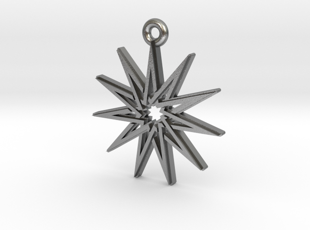 """Hendecagram 5.1"" Pendant, Cast Metal in Natural Silver"