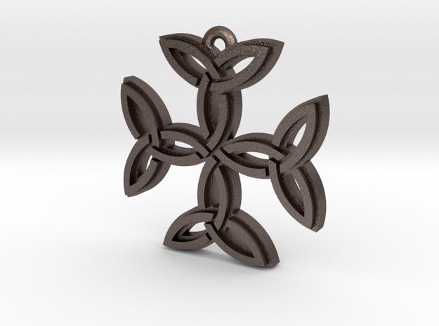 """Carolingian Cross"" Pendant, Printed Metal in Polished Bronzed Silver Steel"
