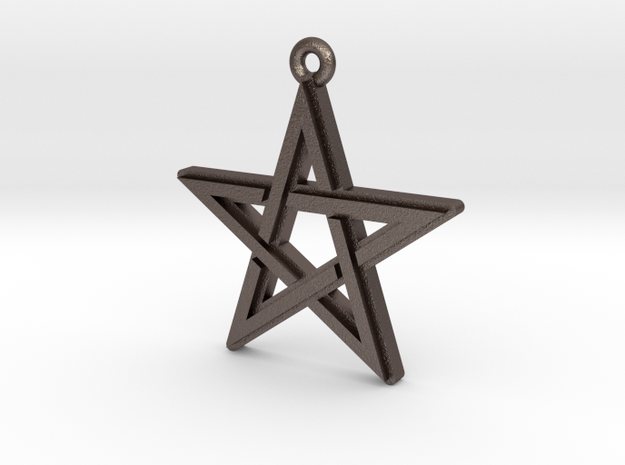 """Pentagram 2.0"" Pendant, Printed Metal in Polished Bronzed Silver Steel"