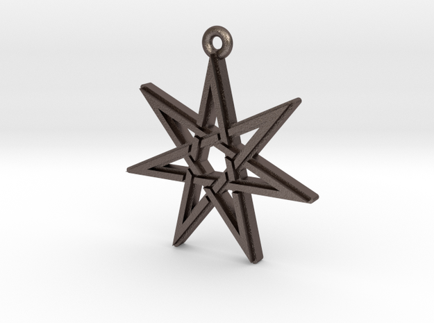 """Heptagram 3.0"" Pendant, Printed Metal in Polished Bronzed Silver Steel"