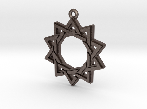 """Decagram 3.0"" Pendant, Printed Metal in Polished Bronzed Silver Steel"