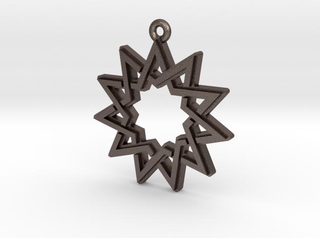 """""""Hendecagram 4.1"""" Pendant, Printed Metal"""