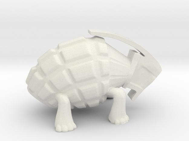Turtle Grenade Toy Design in White Natural Versatile Plastic