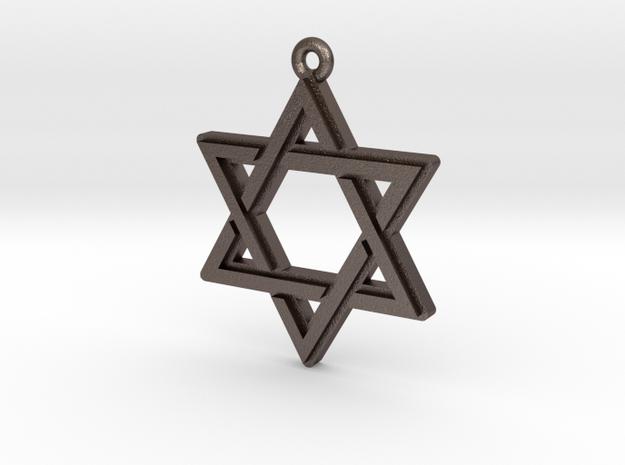 """""""Hexagram 2.0"""" Pendant, Printed Metal in Polished Bronzed Silver Steel"""