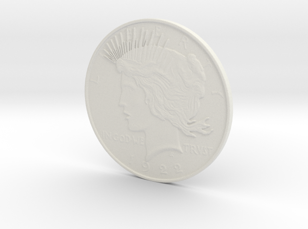 Two Face Silver Dollar (unscratched) in White Natural Versatile Plastic