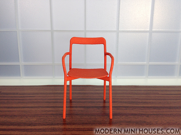 Branca Modern Designer Chair 1:12 scale in Orange Strong & Flexible Polished