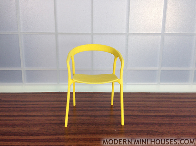 Modern Designer Chair #2 1:12 scale  in Yellow Processed Versatile Plastic