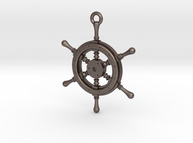 Ship Wheel Pendant in Polished Bronzed Silver Steel